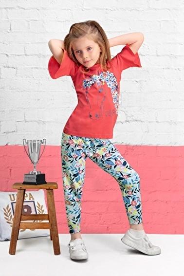 U.S. Polo Assn. U.S. Polo Assn Lisanslı Nar Kız Çocuk Pijama Takımı Kırmızı